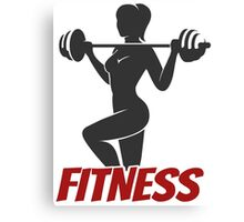 Fitness Girl with barbell illustration Canvas Print