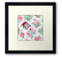 Elegant mixed bouquets of succulents, echeveria, burgundy red and white peony, protea, camellia, carnation, hydrangea seamless vector design pattern. Modern funky stylish bunch of flowers. Framed Print