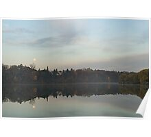 Supermoon Moonset Panoramic Reflections Poster