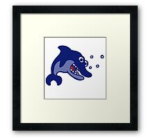 dauphin poisson cartoon humour Framed Print