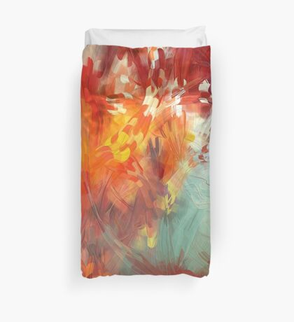Abstract Red Leaves Duvet Cover