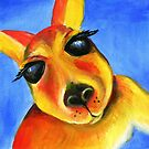 Kangaroo face whimsical art by Sarah Trett