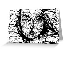 Woman Face Abstract Greeting Card
