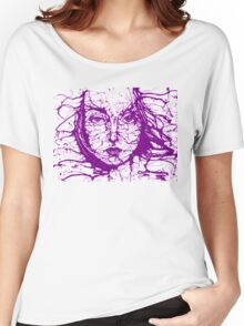Woman Face Abstract Purple Women's Relaxed Fit T-Shirt