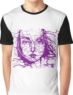 Woman Face Abstract Purple Graphic T-Shirt