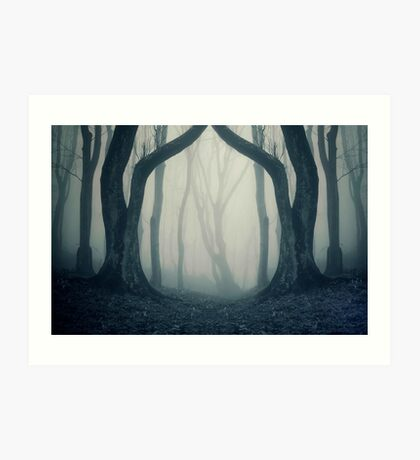 Haunted Halloween forest with fog Art Print