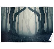 Haunted Halloween forest with fog Poster