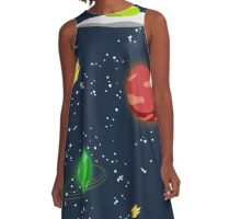 Meteors and Stars (and Spaceships) A-Line Dress