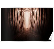 Man walking in dark surreal haunted red forest Poster