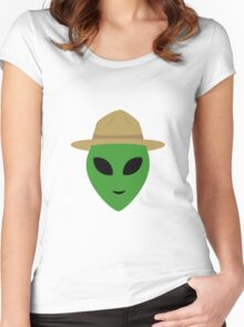 Alien with park ranger hat Women's Fitted Scoop T-Shirt