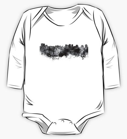 Halifax skyline in black watercolor on white background One Piece - Long Sleeve