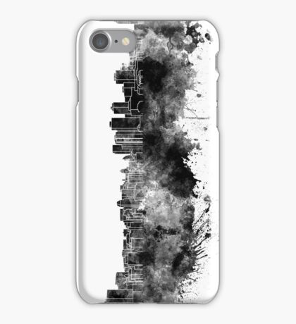 Halifax skyline in black watercolor on white background iPhone Case/Skin