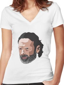 Rick Grimes Women's Fitted V-Neck T-Shirt