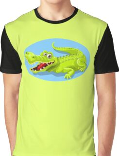 Cartoon Crocodile Vector Design Graphic T-Shirt