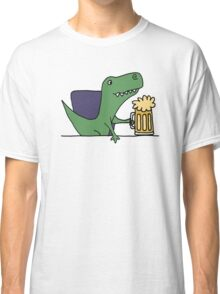 Funky Funny Cool T-rex Dinosaur Drinking Beer Classic T-Shirt