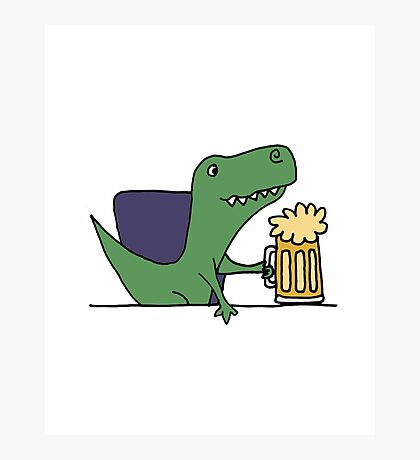 Funky Funny Cool T-rex Dinosaur Drinking Beer Photographic Print