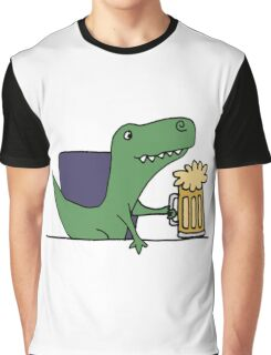 Funky Funny Cool T-rex Dinosaur Drinking Beer Graphic T-Shirt