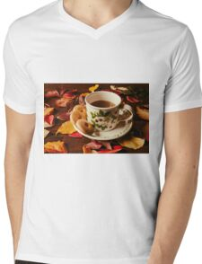 Cup of tea with biscuits and autumnal foliage Mens V-Neck T-Shirt