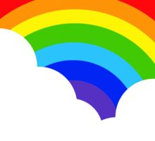 Rainbow within two white Clouds Sticker
