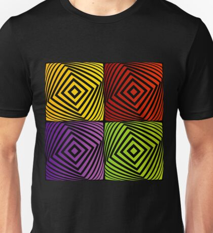 Colorful optical illusion with squares  Unisex T-Shirt
