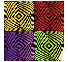 Colorful optical illusion with squares  Poster