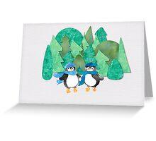 Cute Watercolour Penguins Greeting Card