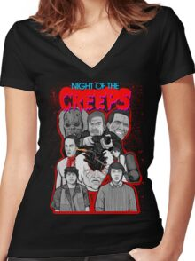 night of the creeps collage Women's Fitted V-Neck T-Shirt