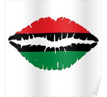 Afro-American flag Lips Poster