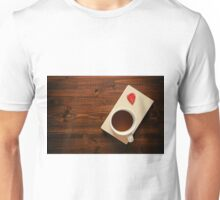 Cup of tea on a book and autumnal leaf Unisex T-Shirt