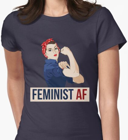 Feminist AF rosie riveter Womens Fitted T-Shirt