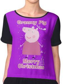 Granny pig (merry christmas) Chiffon Top