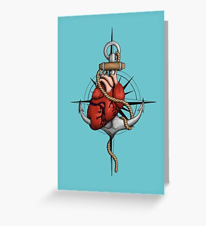 Love and Sea (anchor with heart and compass) Greeting Card