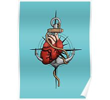 Love and Sea (anchor with heart and compass) Poster