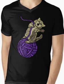 Wrecking Ball Kitty Mens V-Neck T-Shirt