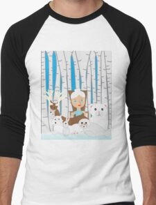 Mother Nature Winter Scene Men's Baseball ¾ T-Shirt