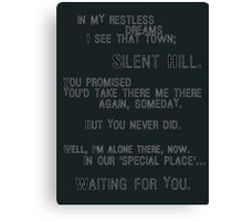 Silent Hill - Mary's Letter (Text) Canvas Print