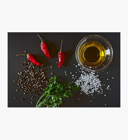 Fresh chili, parsley, oil, salt and pepper Photographic Print