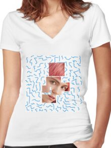 Fragmented Grimes Women's Fitted V-Neck T-Shirt