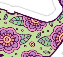 whale ii floral green/purple  Sticker