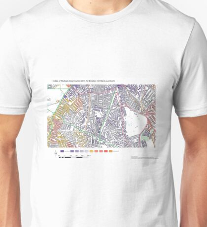 Multiple Deprivation Brixton Hill ward, Lambeth Unisex T-Shirt