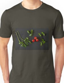 Green vegetables around three red tomatoes Unisex T-Shirt