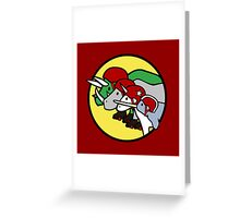 Horned Warrior Friends ROLLER DERBY (Unicorn, Narwhal, Rhino, Triceratops) Greeting Card