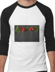 Red and green raw vegetables Men's Baseball ¾ T-Shirt