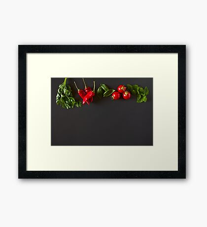 Red and green raw vegetables Framed Print