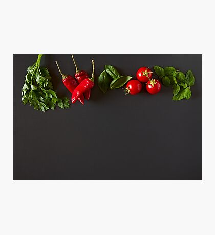 Red and green raw vegetables Photographic Print