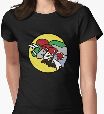 Horned Warrior Friends ROLLER DERBY (Unicorn, Narwhal, Rhino, Triceratops) Womens Fitted T-Shirt