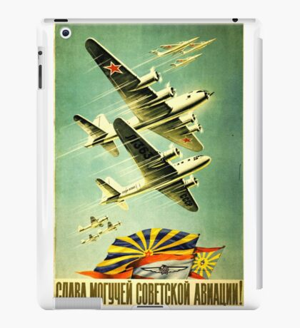 Soviet old poster. Military aircraft iPad Case/Skin