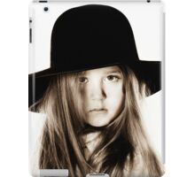 LIttle girl posing like a model in mother's hat, isolated on white background iPad Case/Skin