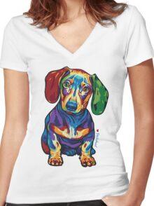 Dachshund - LOVE :) Women's Fitted V-Neck T-Shirt