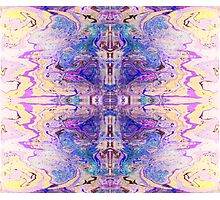 Gorgeous cross design in marbled purple ink Photographic Print